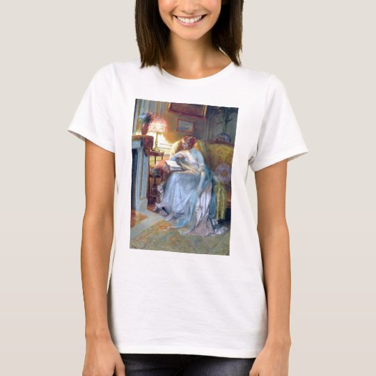 Woman reading by the lamp antique painting T-Shirt