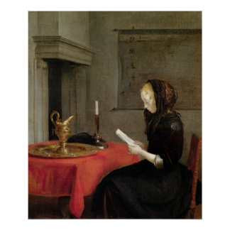Woman Reading, c.1662 Poster