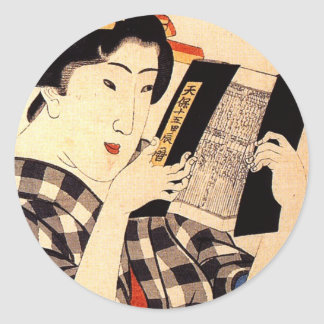 Woman reading classic round sticker