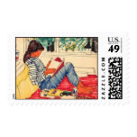 Woman reading in Bed Stamps