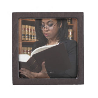 Woman reading in law library gift box