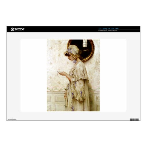 """Woman reading letter painting 15"""" laptop decals"""