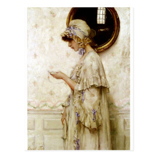 Woman reading letter painting postcard