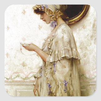 Woman reading letter painting square sticker