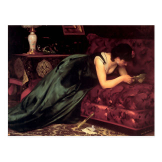 Woman Reading Love letter painting Postcard