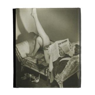 Woman Reading Magazine iPad Cases