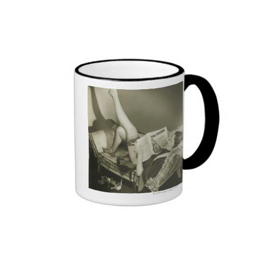 Woman Reading Magazine Ringer Coffee Mug