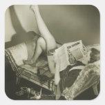 Woman Reading Magazine Square Sticker