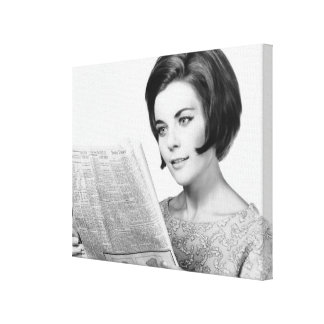 Woman Reading Newpaper Canvas Print