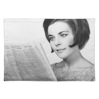 Woman Reading Newpaper Cloth Placemat
