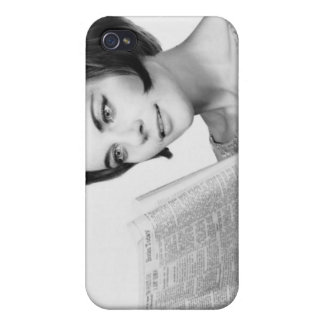 Woman Reading Newpaper Covers For iPhone 4