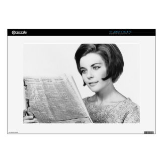 """Woman Reading Newpaper Decal For 15"""" Laptop"""