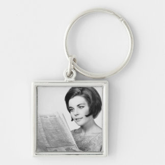Woman Reading Newpaper Keychain