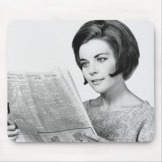 Woman Reading Newpaper Mouse Pad