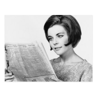 Woman Reading Newpaper Postcard