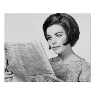 Woman Reading Newpaper Poster