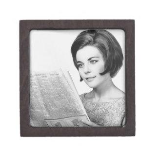 Woman Reading Newpaper Premium Jewelry Boxes