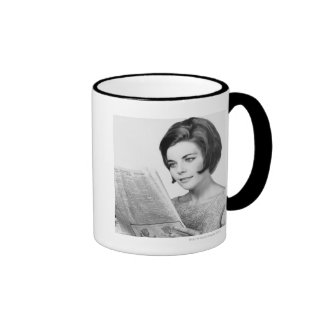 Woman Reading Newpaper Ringer Coffee Mug