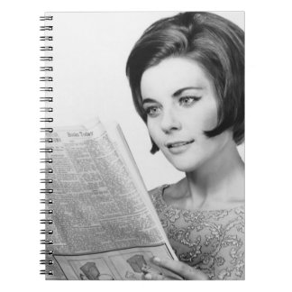 Woman Reading Newpaper Spiral Note Book