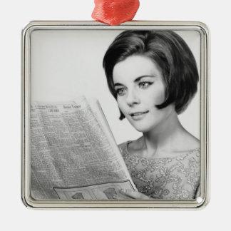 Woman Reading Newpaper Square Metal Christmas Ornament