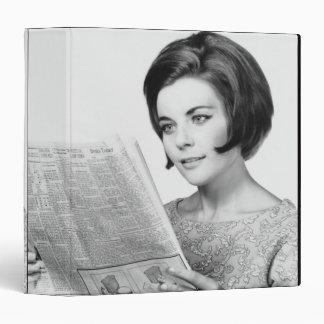 Woman Reading Newpaper Vinyl Binders