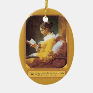 Woman reading ornament