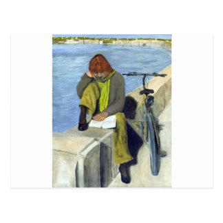 Woman Reading Postcard