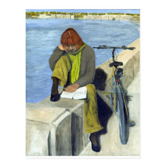 Woman Reading Post Cards