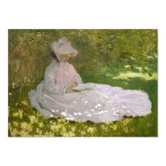 Woman Reading Springtime Monet Card