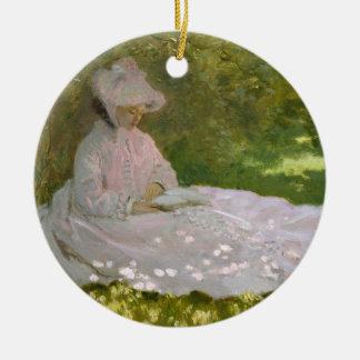 Woman Reading Springtime Monet Ceramic Ornament