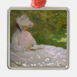 Woman Reading Springtime Monet Christmas Ornaments