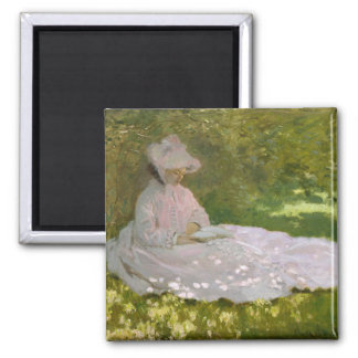 Woman Reading Springtime Monet Magnet