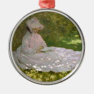 Woman Reading Springtime Monet Metal Ornament