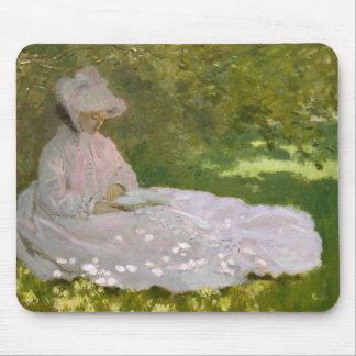 Woman Reading Springtime Monet Mouse Pad