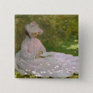Woman Reading Springtime Monet Pinback Button