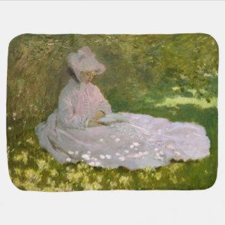 Woman Reading Springtime Monet Stroller Blanket