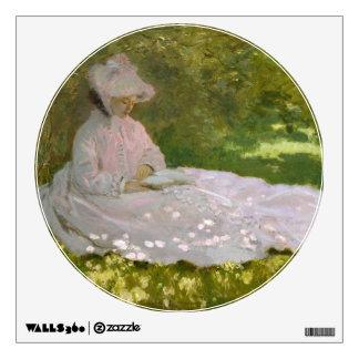 Woman Reading Springtime Monet Wall Skin