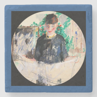 Woman Reading the Newspaper Stone Coaster