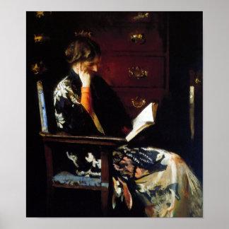 Woman Reading Vintage Art Poster