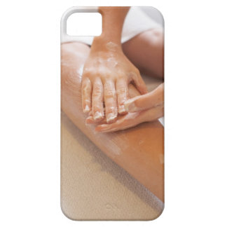 Woman receiving leg massage with lotion iPhone SE/5/5s case