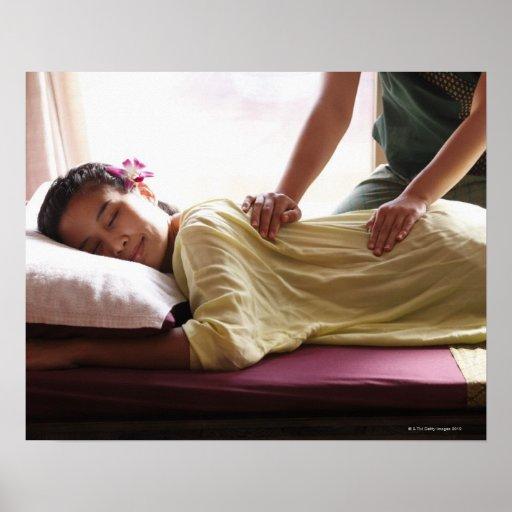 Woman receiving massage #1 print