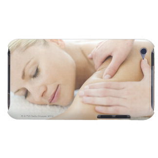 Woman relaxing at a spa while receiving a 2 barely there iPod cases