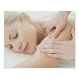 Woman relaxing at a spa while receiving a 2 poster