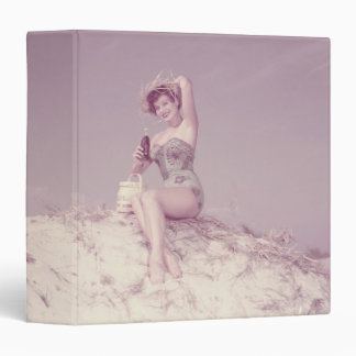 Woman Relaxing on Beach 3 Ring Binder