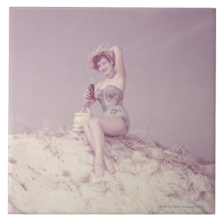 Woman Relaxing on Beach Large Square Tile