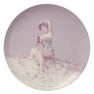 Woman Relaxing on Beach Party Plates