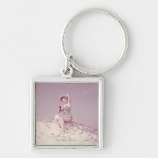 Woman Relaxing on Beach Silver-Colored Square Keychain