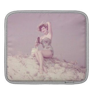 Woman Relaxing on Beach Sleeve For iPads