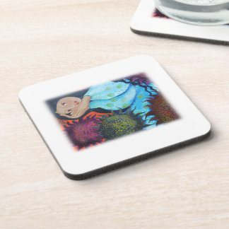 Woman Resting Among Sunflowers. On White. Coaster