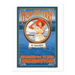 Woman Riding Ferry - Bainbridge Island, WA Postcard